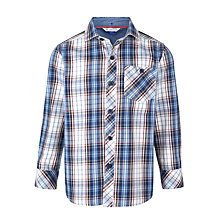 Buy John Lewis Boy Brushed Twill Check Shirt, Navy Online at johnlewis.com