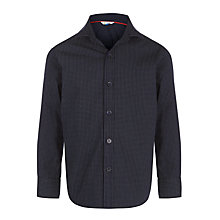Buy John Lewis Boy Mini Polka Dot Print Poplin Shirt, Navy Online at johnlewis.com