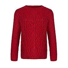 Buy John Lewis Boy Crew Neck Cable Knit Jumper, Red Online at johnlewis.com