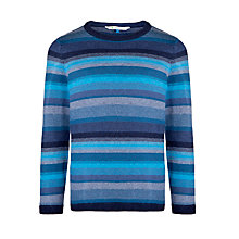 Buy John Lewis Boy Mélange Stripe Knit Jumper, Blue Online at johnlewis.com