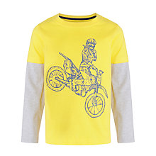 Buy John Lewis Boy Motor Cross Long Sleeve T-Shirt, Yellow/Grey Online at johnlewis.com