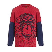 Buy John Lewis Boy Long Sleeve 2-in-1 Chimp Top, Red/Navy Online at johnlewis.com