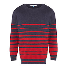 Buy John Lewis Boy Variegated Stripe Knit Jumper, Grey/Red Online at johnlewis.com