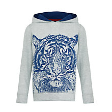 Buy John Lewis Boy Sketch Tiger Hoody, Grey/Blue Online at johnlewis.com