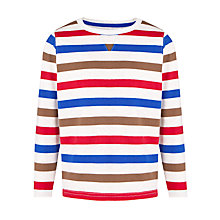 Buy John Lewis Boy Multi Stripe Long Sleeve Top, White/Multi Online at johnlewis.com