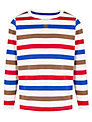 John Lewis Boy Multi Stripe Long Sleeve Top, White/Multi