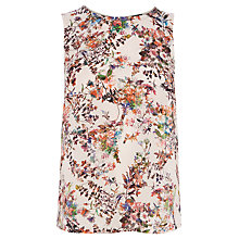 Buy Warehouse Floral Woven Front Button Back Shell Top, Multi Online at johnlewis.com
