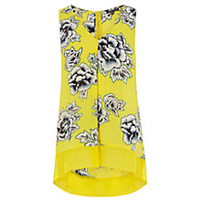 Buy Warehouse Print Stencil Floral Hem Top, Yellow Online at johnlewis.com
