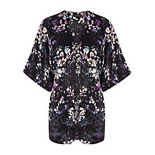 Buy Warehouse Dark Floral Check Kimono, Multi Online at johnlewis.com