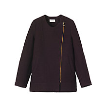 Buy Toast Long Biker Jacket, Aubergine Online at johnlewis.com