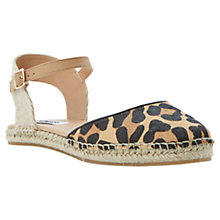 Buy Dune Jessee Two Part Leather Espadrille Sandals, Leopard Online at johnlewis.com