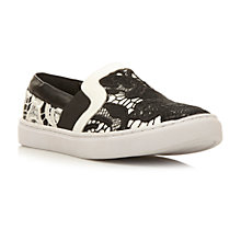 Buy Steve Madden Gulliable Leather Lace Slip On Trainers, Monochrome Online at johnlewis.com