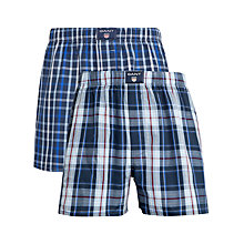 Buy Gant Checked Cotton Boxers, Pack of 2, Blue Online at johnlewis.com