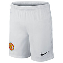 Buy Nike Junior Manchester United Replica Home Shorts 2014/15, White Online at johnlewis.com