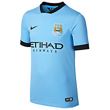 Buy Nike Junior Manchester City Replica Short Sleeve Home Shirt 2014/2015, Blue Online at johnlewis.com