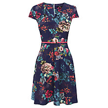 Buy Oasis Sketch Floral Skater Dress, Navy Online at johnlewis.com