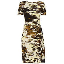 Buy Jaeger Silk Blurred Print Dress, Khaki Online at johnlewis.com