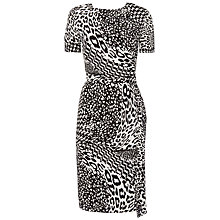 Buy Jaeger Silk Animal Print Dress, Black / White Online at johnlewis.com