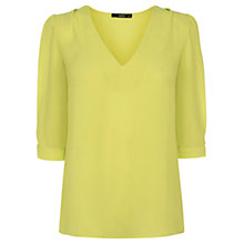 Buy Oasis Tabby Tuck Sleeve Top, Mid Yellow Online at johnlewis.com