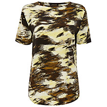 Buy Jaeger Silk Blurred  Print T-Shirt, Khaki Online at johnlewis.com