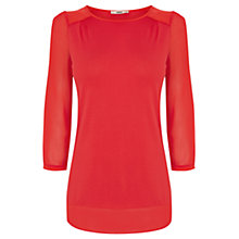 Buy Oasis Woven Detail Pull on Blouse, Soft Orange Online at johnlewis.com