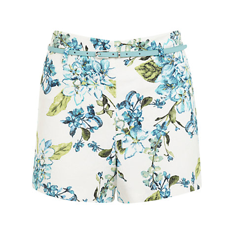 Buy Miss Selfridge Floral Belted Shorts, Multi Online at johnlewis.com