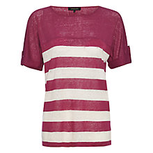 Buy Jaeger Linen Roll Sleeve T-Shirt Online at johnlewis.com