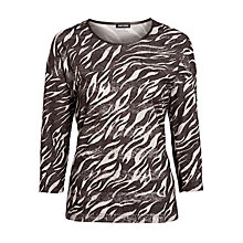 Buy Gerry Weber Zebra Burnout Jersey Top, Brown Online at johnlewis.com