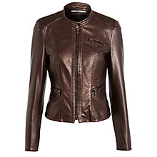 Buy Gerry Weber Faux Leather Jacket, Bronze Online at johnlewis.com