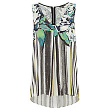 Buy Warehouse Floral and Stripe Dipped Hem Top, Multi Online at johnlewis.com