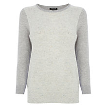 Buy Warehouse Nep Front Crew Jumper, Light Grey Online at johnlewis.com