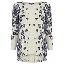 Buy Warehouse Jagged Floral Jumper, Light Grey Online at johnlewis.com