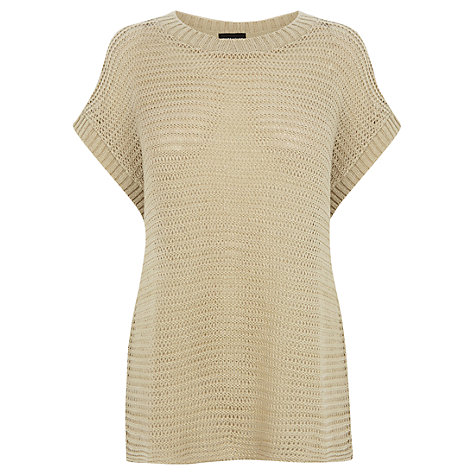 Buy Warehouse Mesh Stitch Tee, Cream Online at johnlewis.com