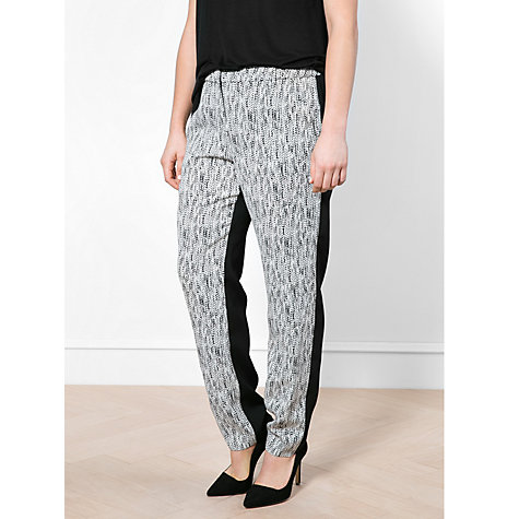 Buy Violeta by Mango Printed Panel Trousers, Black Online at johnlewis.com