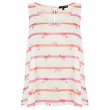 Buy Warehouse Stripe Bird Print Vest, Pink Online at johnlewis.com