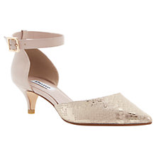 Buy Dune Cameran Pointed Ankle Strap Court Shoes, Gold Online at johnlewis.com