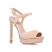 Buy KG by Kurt Geiger Hazel High Platform Leather Sandals, Nude Online at johnlewis.com