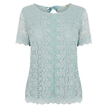 Buy Oasis Scallop Trim Mesh T-Shirt, Teal Green Online at johnlewis.com