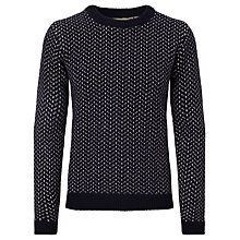 Buy JOHN LEWIS & Co. Made In Italy Vintage Birdseye Crew Neck Jumper, Navy Online at johnlewis.com