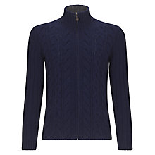 Buy John Lewis Merino and Cashmere Cable Zip Cardigan Online at johnlewis.com