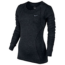 Buy Nike Dri-FIT Knit Long Sleeve Running Shirt, Black Online at johnlewis.com