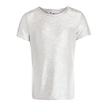Buy John Lewis Girl Metallic T-Shirt, Silver Online at johnlewis.com
