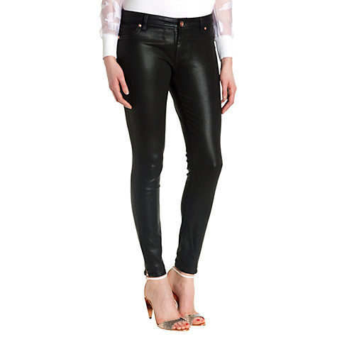 Buy Ted Baker Annna Wax Oil Coated Skinny Jeans, Black Online at johnlewis.com