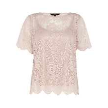 Buy Coast Kaya Lace T-Shirt, Neutral Online at johnlewis.com