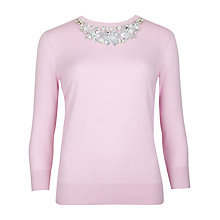 Buy Ted Baker Embellished Neckline Jumper, Baby Pink Online at johnlewis.com