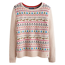 Buy Joules Chrissie Xmas Intarsia Knit Jumper, Light Grey Online at johnlewis.com