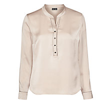 Buy Gerry Weber Satin Bead Trim Blouse, Almond Online at johnlewis.com