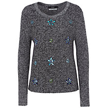 Buy Oui Bead Embellished Jumper, Grey/Black Online at johnlewis.com