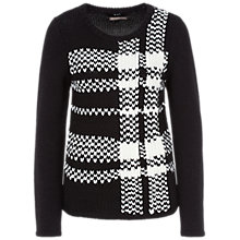 Buy Oui Oversized Check Jumper, Black/White Online at johnlewis.com