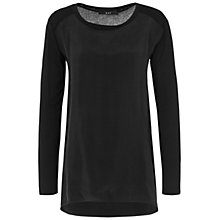 Buy Oui Woven Front Long Sleeved Top, Dark Grey Online at johnlewis.com